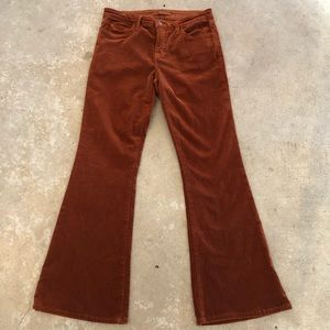 J Brand Mid Rise Bell Bottom Corduroy Pant in Rust